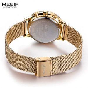 MEGIR Paris Gold- női karóra – aranyszínű fém szíj – Arany-fehér kivitel – ajándék díszdoboz
