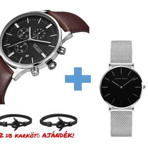Pároknak Luxury ajándékcsomag: MEGIR Milano SilverBlack edition + Hannah Martin ezüst-fekete karóra – AJÁNDÉK Páros anchor karkötővel