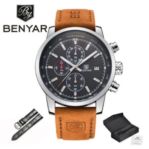 Benyar BrownLux SilverBlack edition Férfi Luxury Karóra – ajándék díszdoboz, ajándék fekete szíj