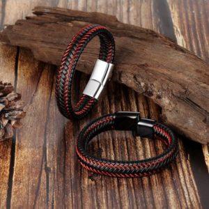 StreetDesign Pulsera bőr karkötő – elegáns ezüst vagy fekete mágneses csat – 2 méretben