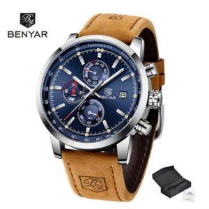 Benyar BrownLux SilverBlue edition Férfi Luxury Karóra – ajándék díszdoboz, ajándék fekete szíj