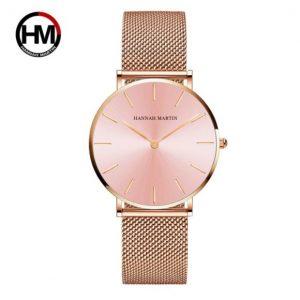 Hannah Martin Női Karóra – RoseGold szíj – Rózsaszín óratok – Ajándék díszdoboz