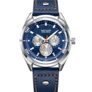 MEGIR Sarti Blue-edition férfi karóra – Kékszínű bőr szíj – ajándék díszdoboz